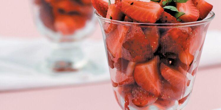 Verrines de fraises au basilic et au citron