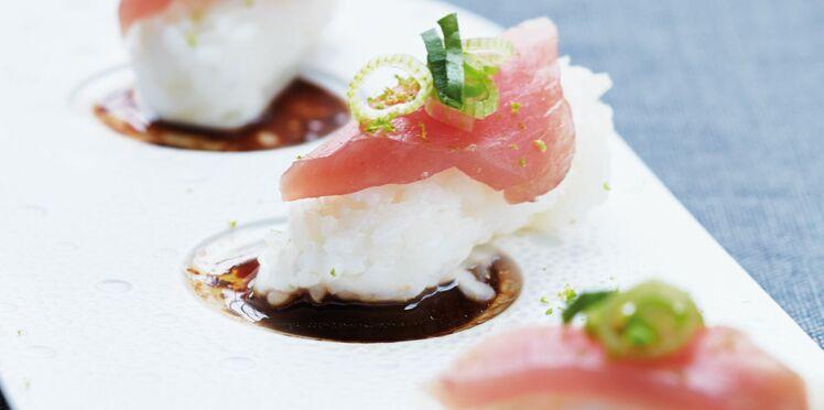 Sushis de thon rouge, sauce chicorée et gingembre