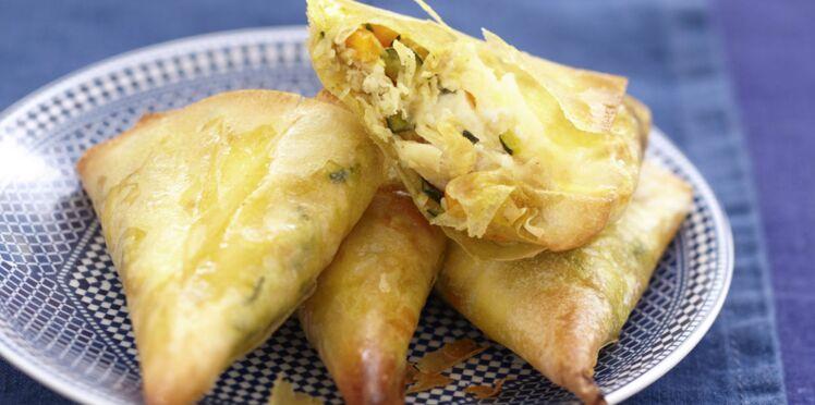 Samossas au crabe et fromage frais