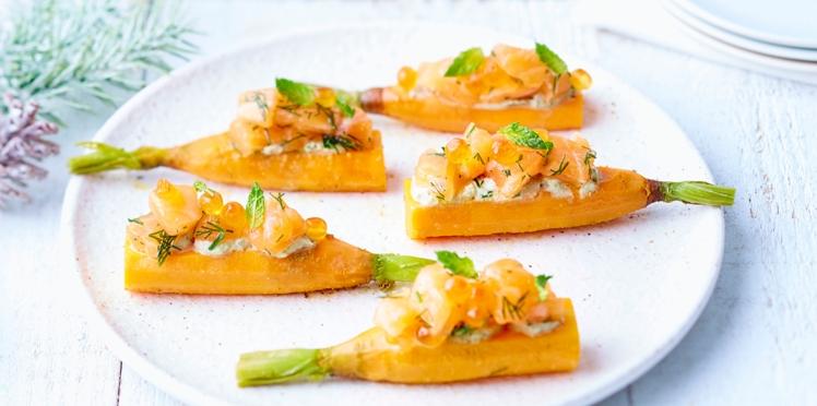 Bouchées carotte et saumon mariné, crème à la menthe