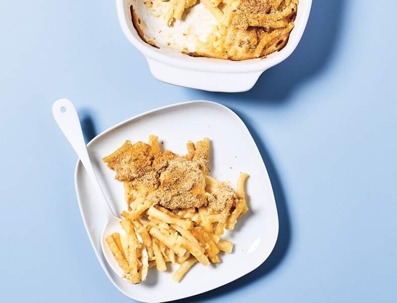 Mac and cheese au camembert gratiné en 7 minutes