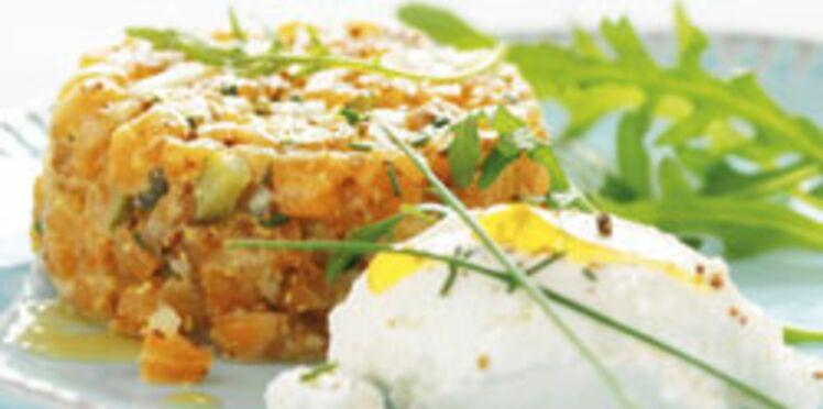 Tartare de saumon au miel et ricotta sur un lit de roquette, vinaigrette au miel