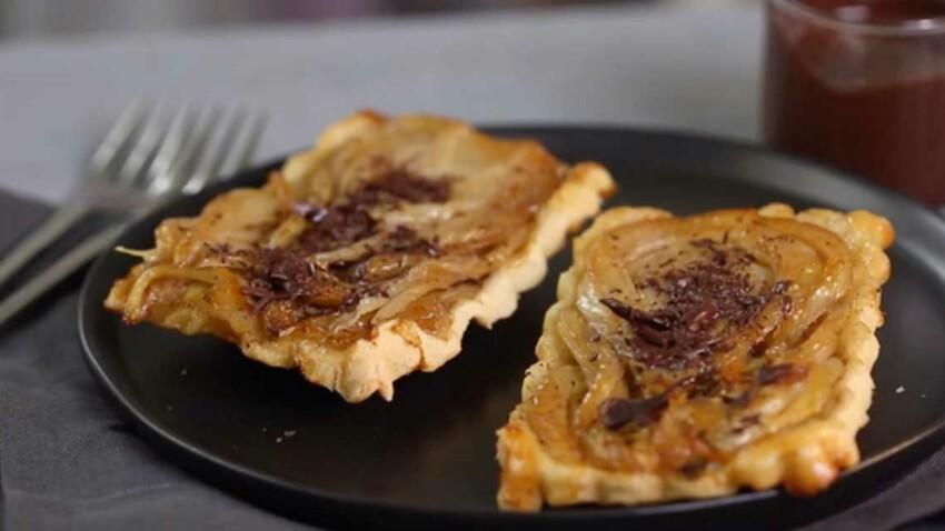 La recette de la tatin au fenouil confit et sauce chocolat en vidéo
