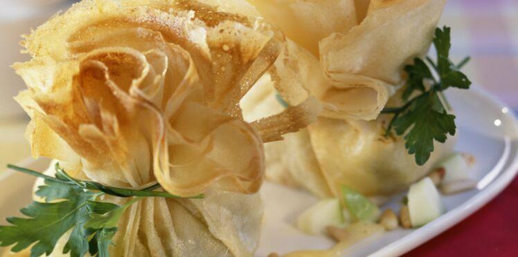 Aumonières surprises au camembert