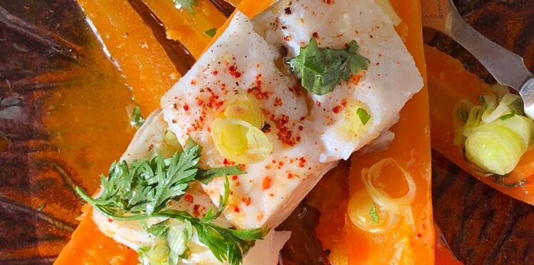 Cabillaud et carottes, jus de carottes et gingembre
