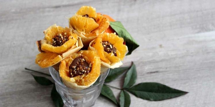 Crêpes en cône orange, cannelle & Nutella
