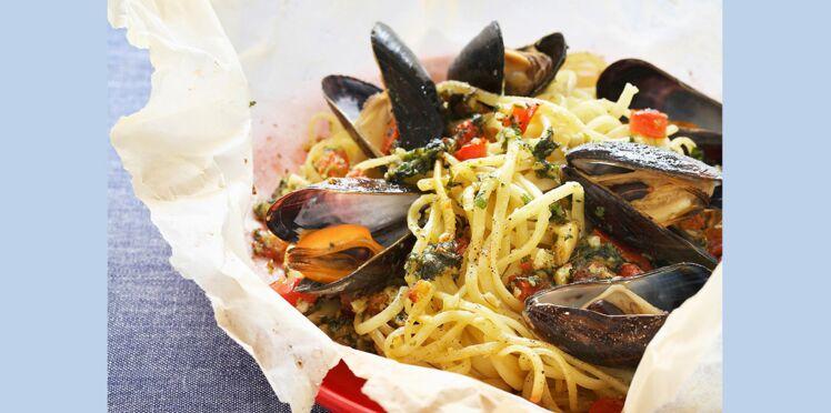 Spaghettis de la mer en papillotes