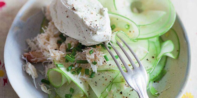 Salade de tourteau aux pommes et chantilly citronnée