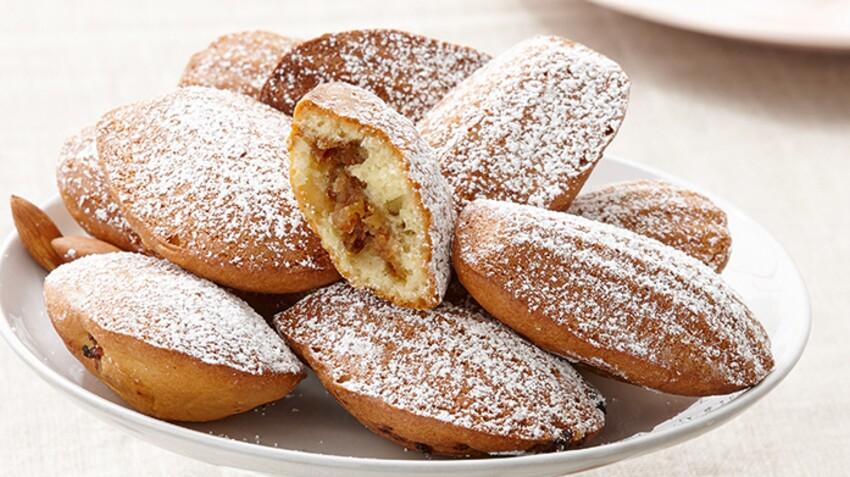 Petites madeleines fourrées aux amandes et raisins secs