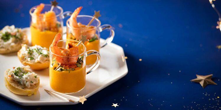 Verrines de potimarron, crevettes et rillettes de crabe