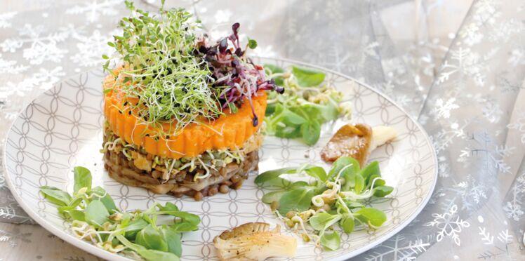 Parmentier à la patate douce, champignons aux truffes et graines germées