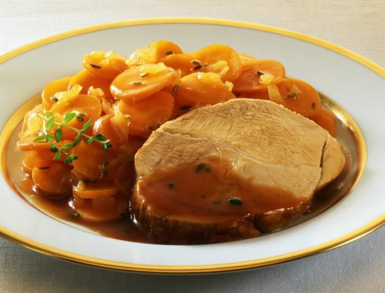 Rôti de porc aux carottes