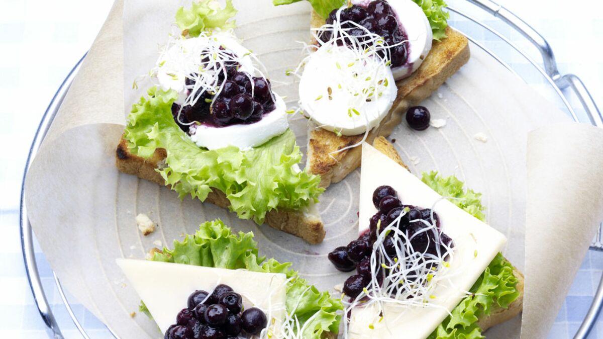 Toasts au fromage de chèvre et myrtilles