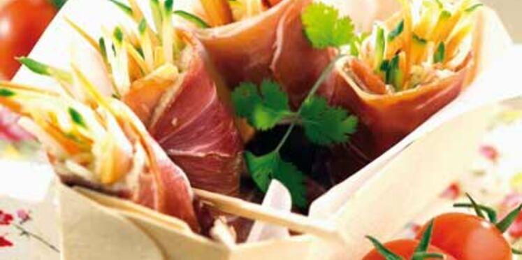 Fagots de légumes au jambon cru
