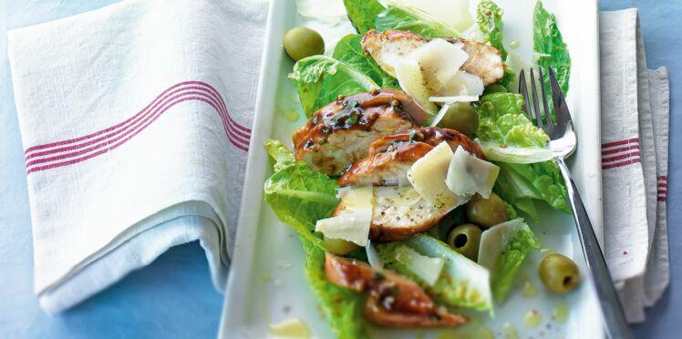 Salade romaine au poulet mariné de Laurent Mariotte