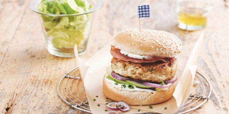 Burger sucré salé poulet, chèvre et pomme verte