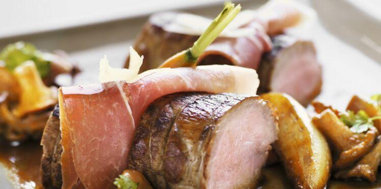 Filet mignon de porc au jambon cru et petits légumes