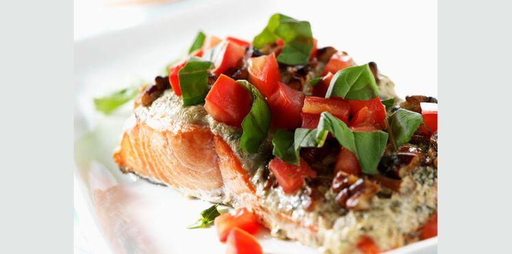 Pavés de saumon au basilic