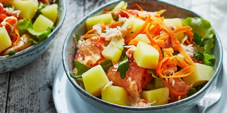 Salade de pommes de terre primeurs, crabe, pomelo, carotte