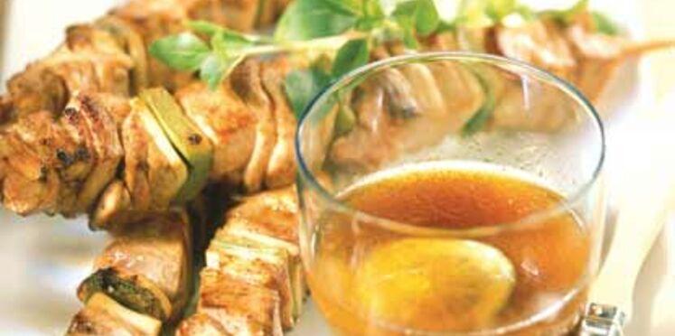 Brochettes de viande au citron vert