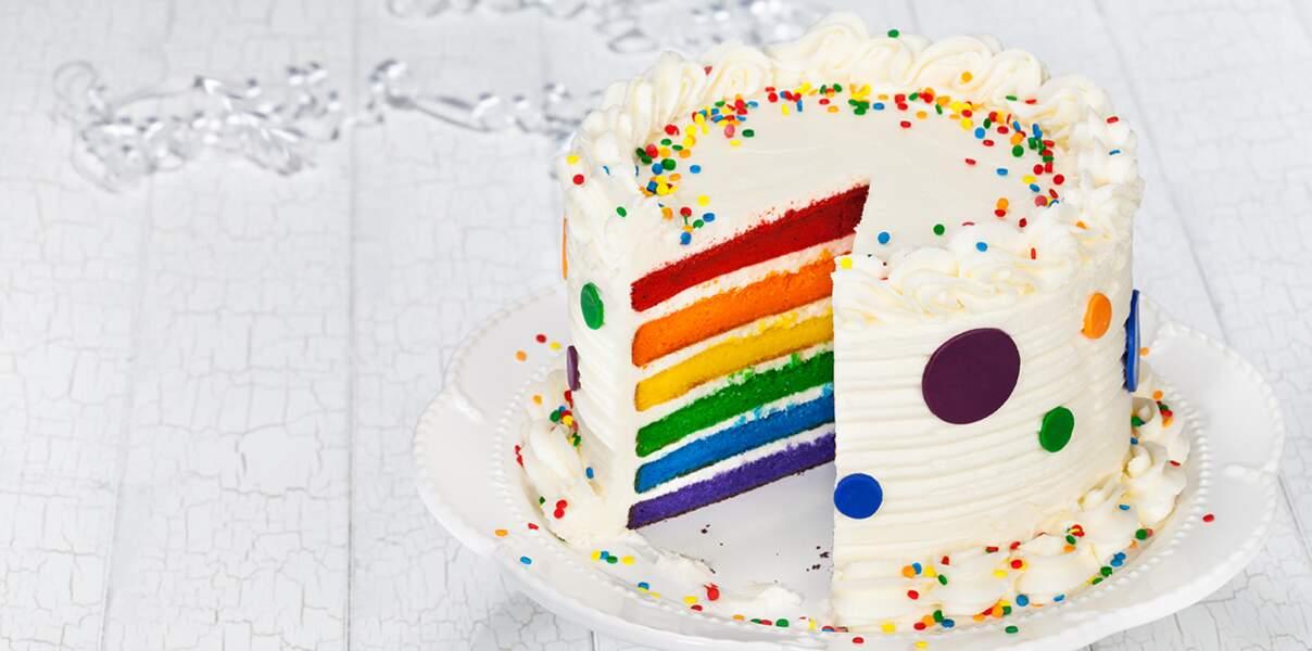Video : un gâteau d'anniversaire arc-en-ciel