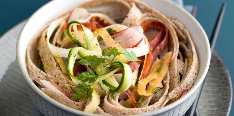 Galettes façon soba et tagliatelles de légumes