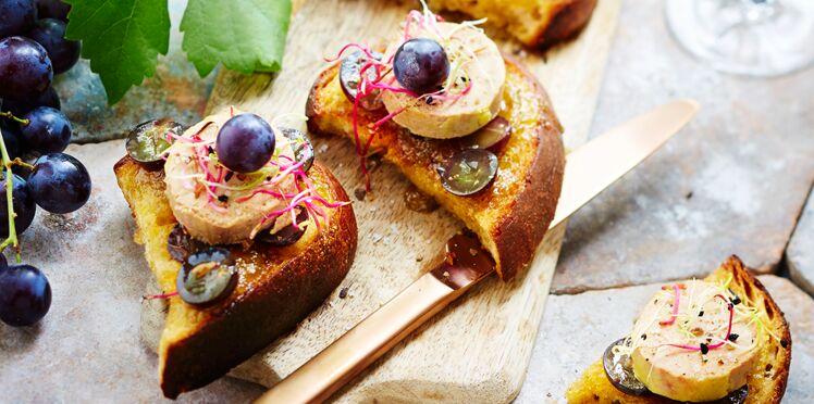 Crostinis de foie gras et muscat