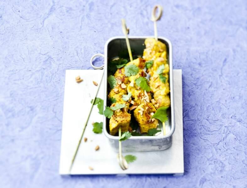 Mini-brochettes de poulet à la coriandre et au citron