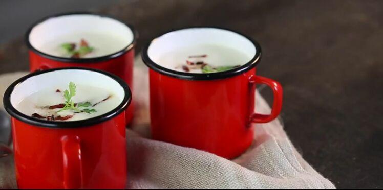 Velouté de chou fleur au lait et au chorizo croustillant
