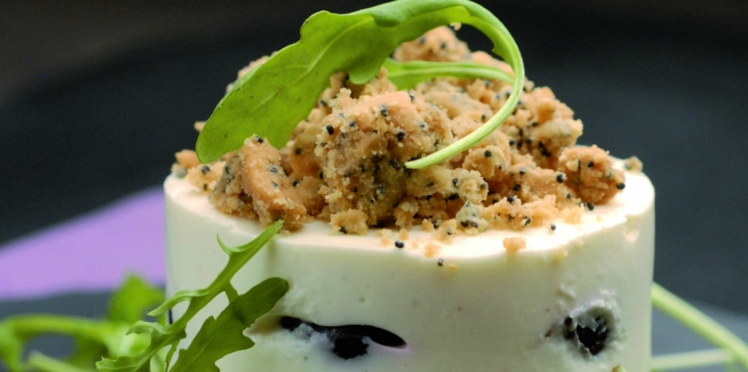 Terrine de fromage frais et crumble au pavot