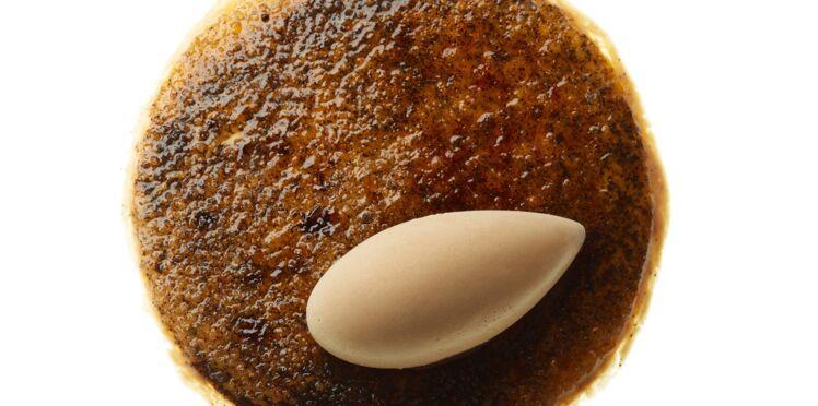 Crème brûlée à la réglisse, quenelle au chocolat
