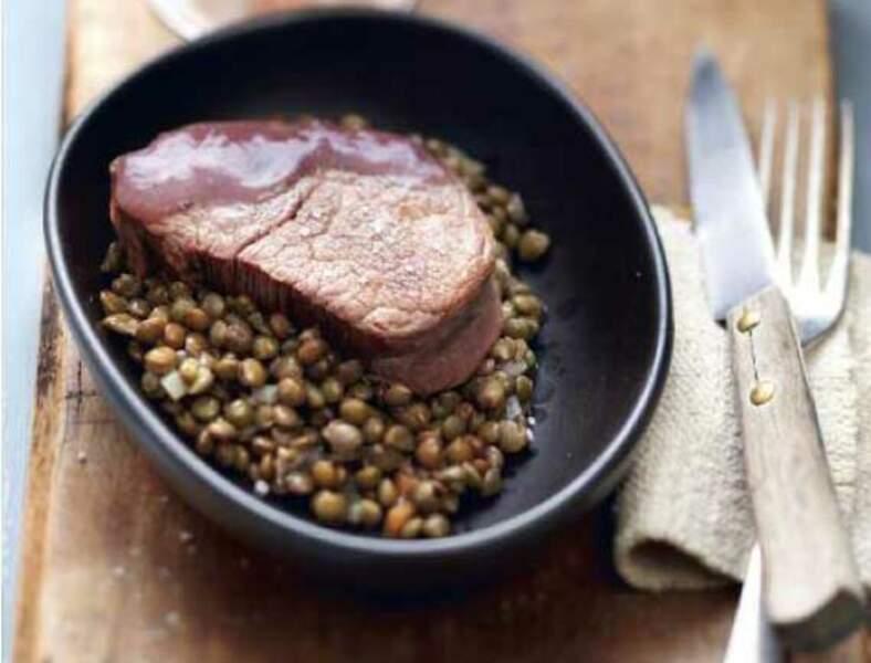 Recette légère : médaillon de bœuf poêlé vigneronne aux lentilles