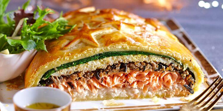 Koulibiac de saumon aux champignons des bois