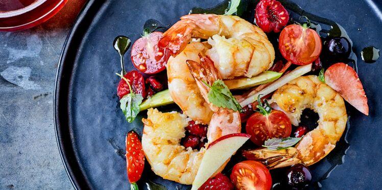 Grosses gambas et salade de fruits