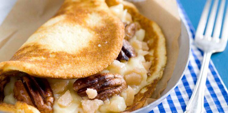 Crêpes soufflées pralinées aux noix de Pécan