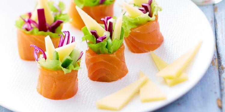 Maki au gruyère, saumon fumé et légumes