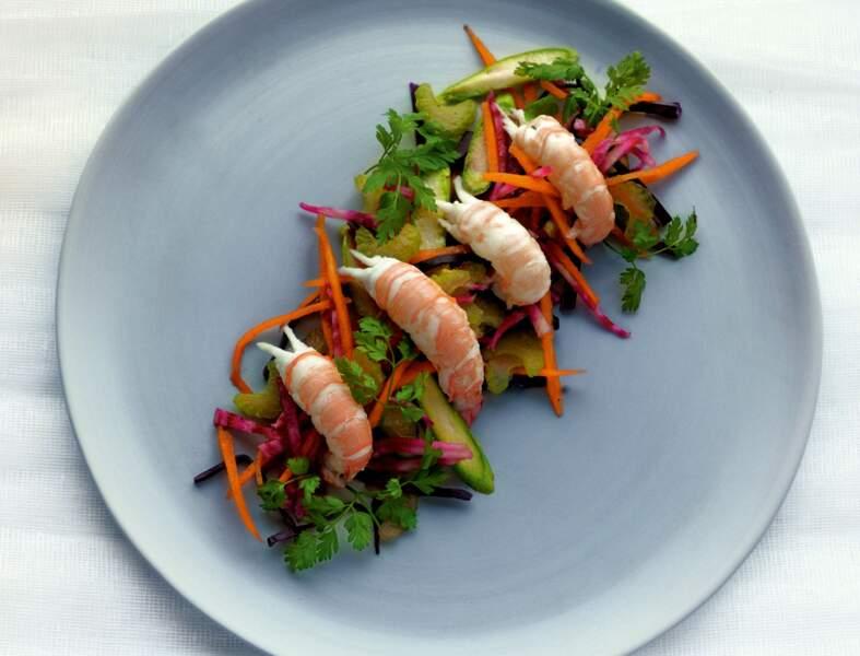 Recette légère : salade de langoustines et légumes crus à l'huile de cameline