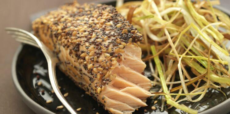 Pavé de saumon rôti en croûte de graines