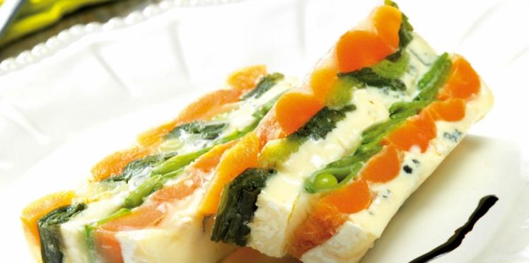 Terrine pressée de bleu aux légumes printaniers