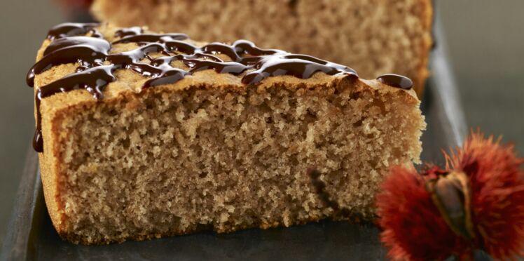 Gâteau de farine de châtaigne, noisettes et chocolat