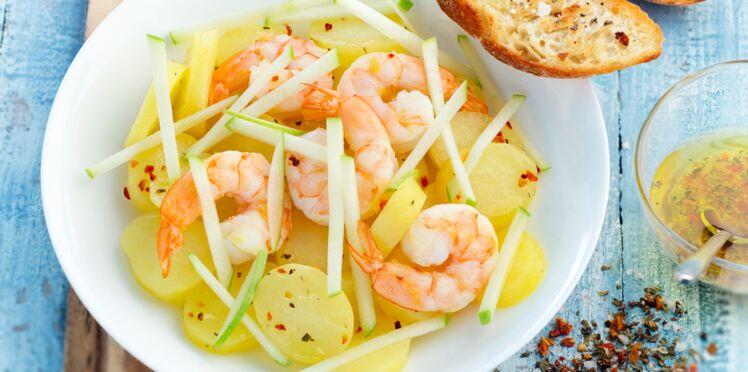 Salade de pommes de terre, crevettes et pomme