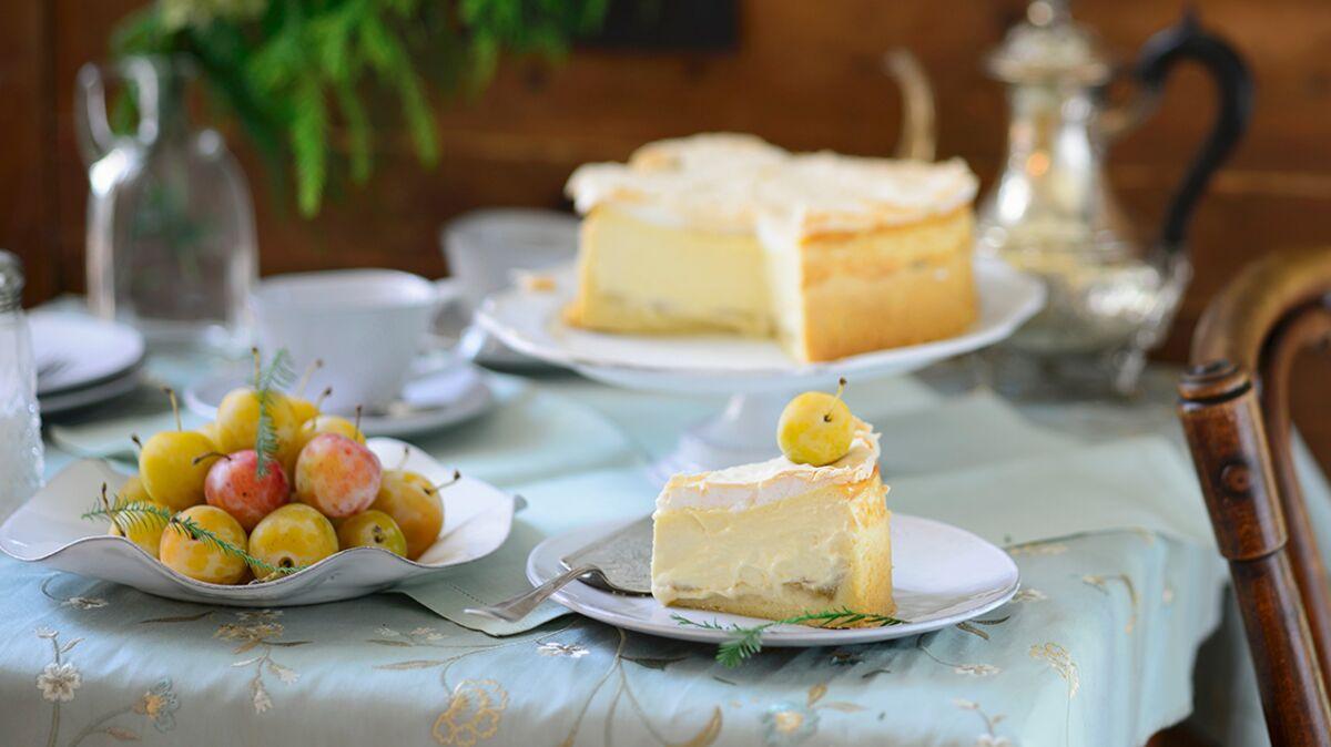 Gâteau aux mirabelles et fromage blanc