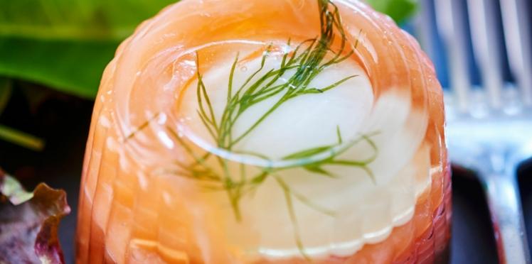 Aspic d'œuf au saumon fumé