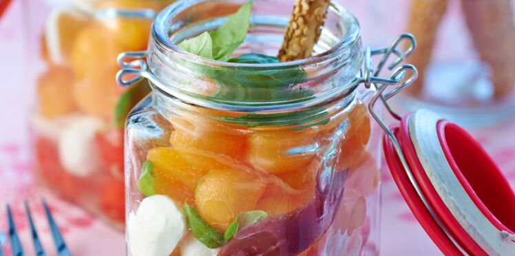 Fraîcheur de pastèque et de melon à la mozzarella