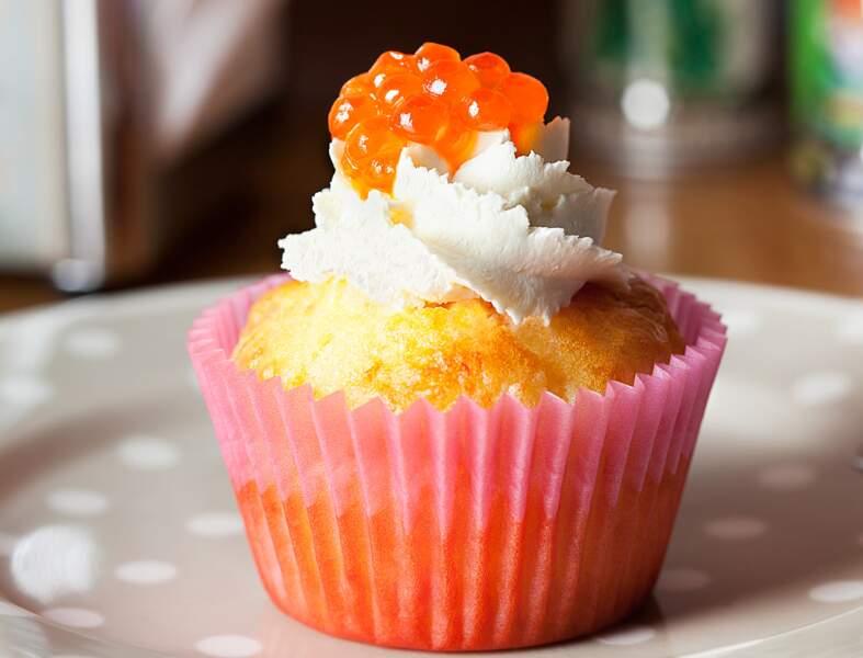 Cupcake au saumon fumé, fromage frais et oeufs de saumon (Saumons et Merveilles)