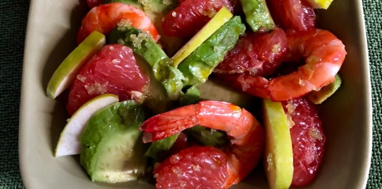 Salade d'avocat et crevettes au pamplemousse