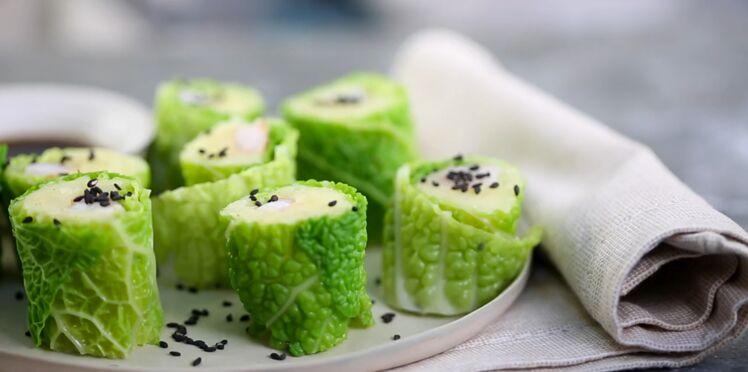 Maki de chou vert, écrasé de pommes de terre et crevettes