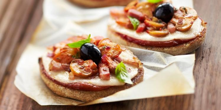 Mini pizzas express aux champignons