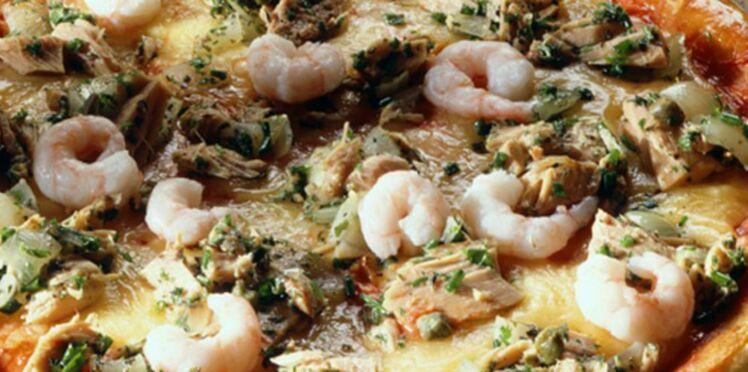 Pizza au thon et aux crevettes