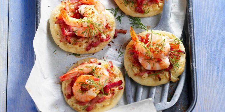 Pizzettes aux crevettes